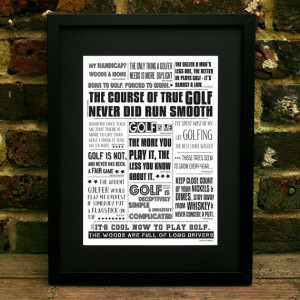 Birthday Gift, Golf Quotes, Dad Gift Poster, A4, A3