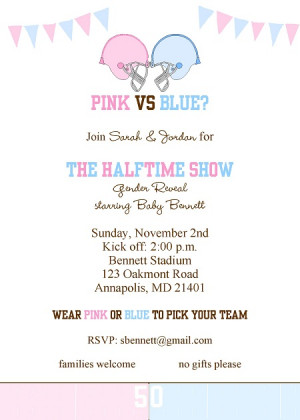 It's halftime! Football gender reveal party invitation in pink and ...