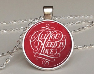 , the beatles necklace, quote necklace, motto, motivational quote ...