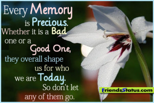 Good Memories Quotes Every memory is precious