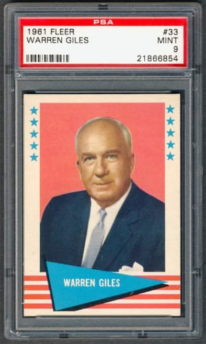 1961 Fleer Warren Giles 33 PSA 9 MINT