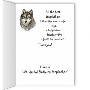 Happy Birthday Stepfather Humor Wolf, Wolves Greeting Card