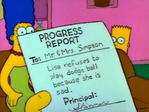 sad the simpsons simpsons school lisa simpson lisa dodgball