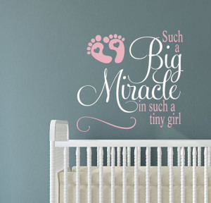 Quote Decals Big Miracle decal Nursery Girls Room Wall Stickers for ...