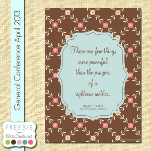 Boyd K. Packer Mothers Prayer Printable Freebie from BitsyCreations ...