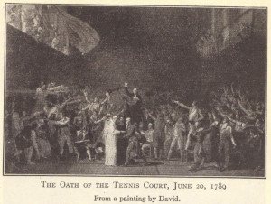 The Oath of the Tennis Court, June 20, 1789. From a painting by David.