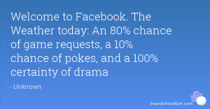 Welcome to Facebook. The Weather today: An 80% chance of game requests ...