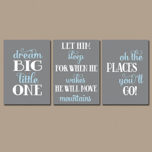 BOY Nursery Wall Art Boy Nursery Quote Wall Art Dream Big Let Him ...