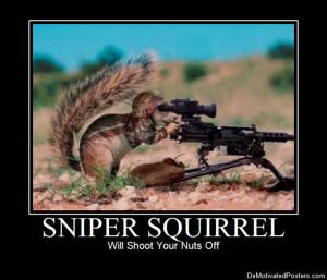 Sniper Squirrel DeMotivated Poster