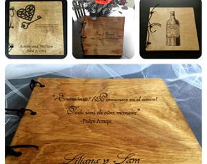 Wood Photo Album, Scrap Book, Weddi ng Guest Book - Custom made with ...