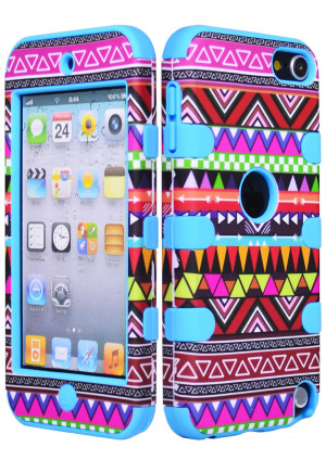 Hybrid Impact Tribal Aztec Case / Blue Silicone Cover for iPod Touch ...