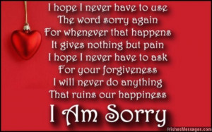 Romantic I am sorry poem message to wife from husband