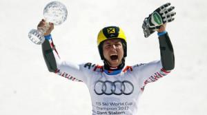 Marcel Hirscher Con La Coppetta Di Slalom Gigante A Schladming picture