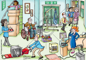 Health and safety cartoons - Care home fire hazards. Fire hazards care ...