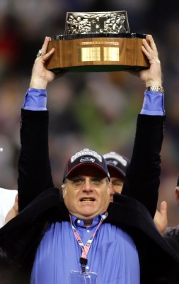 Seattle Seahawks' team owner Paul Allen holds up the trophy after his ...