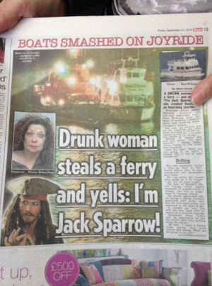 Drunk woman steals a ferry and yells : I'm Jack Sparrow