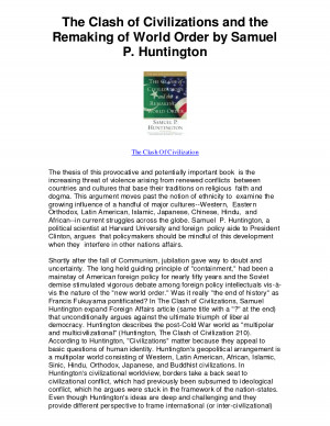 of World Order by Samuel P Huntington - The Clash Of Civilization