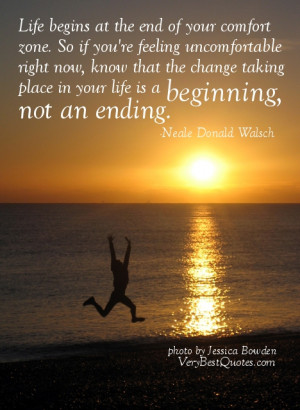 Uplifting life quote for hard times – Life begins at…