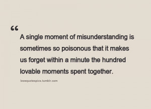 Quote on Misunderstanding and Lovable Moments