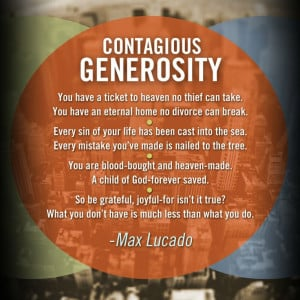 Contagious Generosity: Quote from Max Lucado