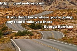 If you don't know where you're going any road'll take you there