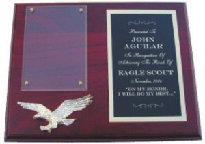 Solid Walnut Eagle Scout Plaque with Rosewood Stain