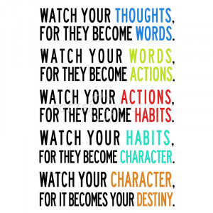Watch Your Thoughts Colorful Motivational Poster - 13x19