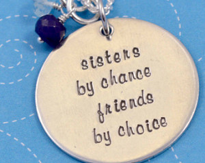 Sisters Necklace, Sterling Silver, Hand Stamped, Sisters by Chance ...