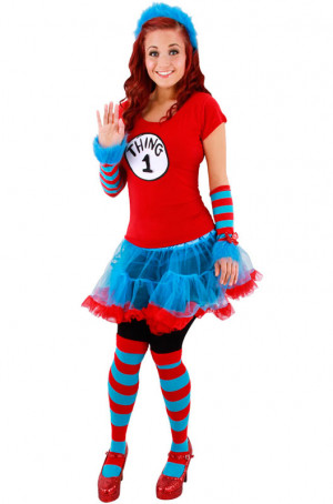 Home > Adult Costumes > Dr Seuss Thing 1 and Thing 2 Adult Tutu ...