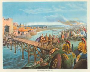 Horatius defends the bridge at Rome. Macmillan poster.