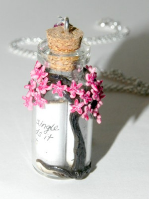 Cherry Blossom Tree, Sakura Necklace with Quote
