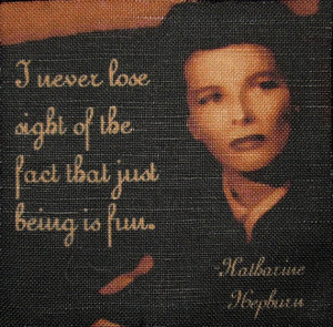 KATHERINE HEPBURN QUOTE - Printed Patch - Sew On - She Was and Is a ...
