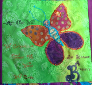 butterfly inspirational quote fabric painting