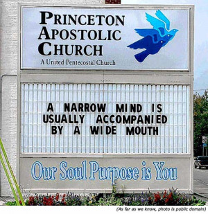 Hilarious sign: Funny church signs: Princeton Apostolic Church: A ...