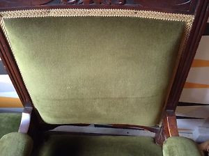 ... Edwardian-Armchair-In-Green-Velour-ASK-FOR-INTERNATIONAL-POSTAGE-QUOTE