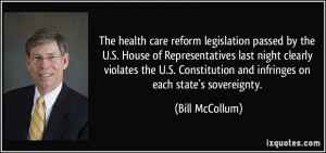 The health care reform legislation passed by the U.S. House of ...