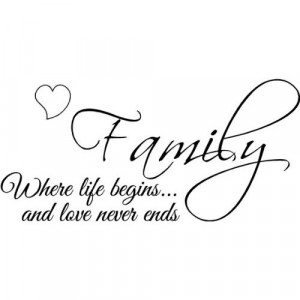 : Family where life begins and love never ends wall art wall sayings ...