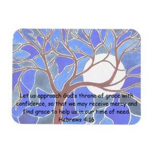 Help in time of need - Hebrews 4:16 - Bible verse Rectangle Magnets