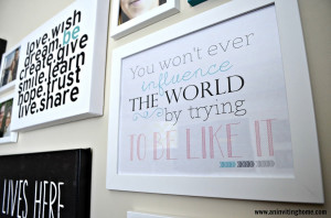 found the white canvas with black words at HomeGoods . It couldn't ...
