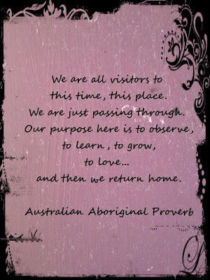 We are all visitors to this time, this place. We are just passing ...