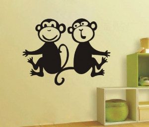 Nursery House Home Cute Monkey Decor Decals Sticker Quote Paper for ...