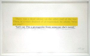 series of 9 silkscreens using quotes from a novel by Jerzy Kosinski ...