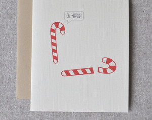 Candy Cane Christmas greeting card with envelope. Funny holiday card ...