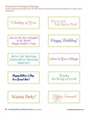 Printouts for Greeting Card Sayings