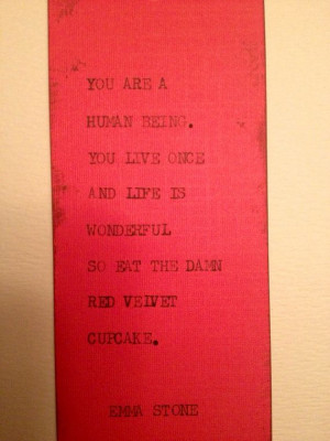 THE RED VELVET Typewriter quote on 2 x 6.5 bookmark by WritersWire