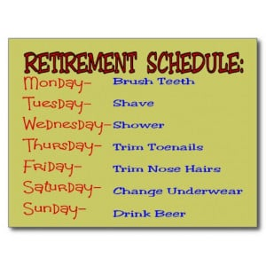 retirement_schedule_funny_retirement_gifts_postcard ...