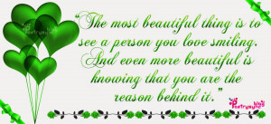 Love Quotes The most beautiful thing is to see a person you love By ...