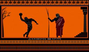 Greek Vase - Discus Thrower - 400 B.C. by hellenicwarrior
