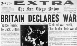 1939- Britain and France declare war on Germany