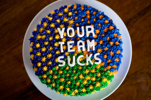 Football Rivalry Cake With